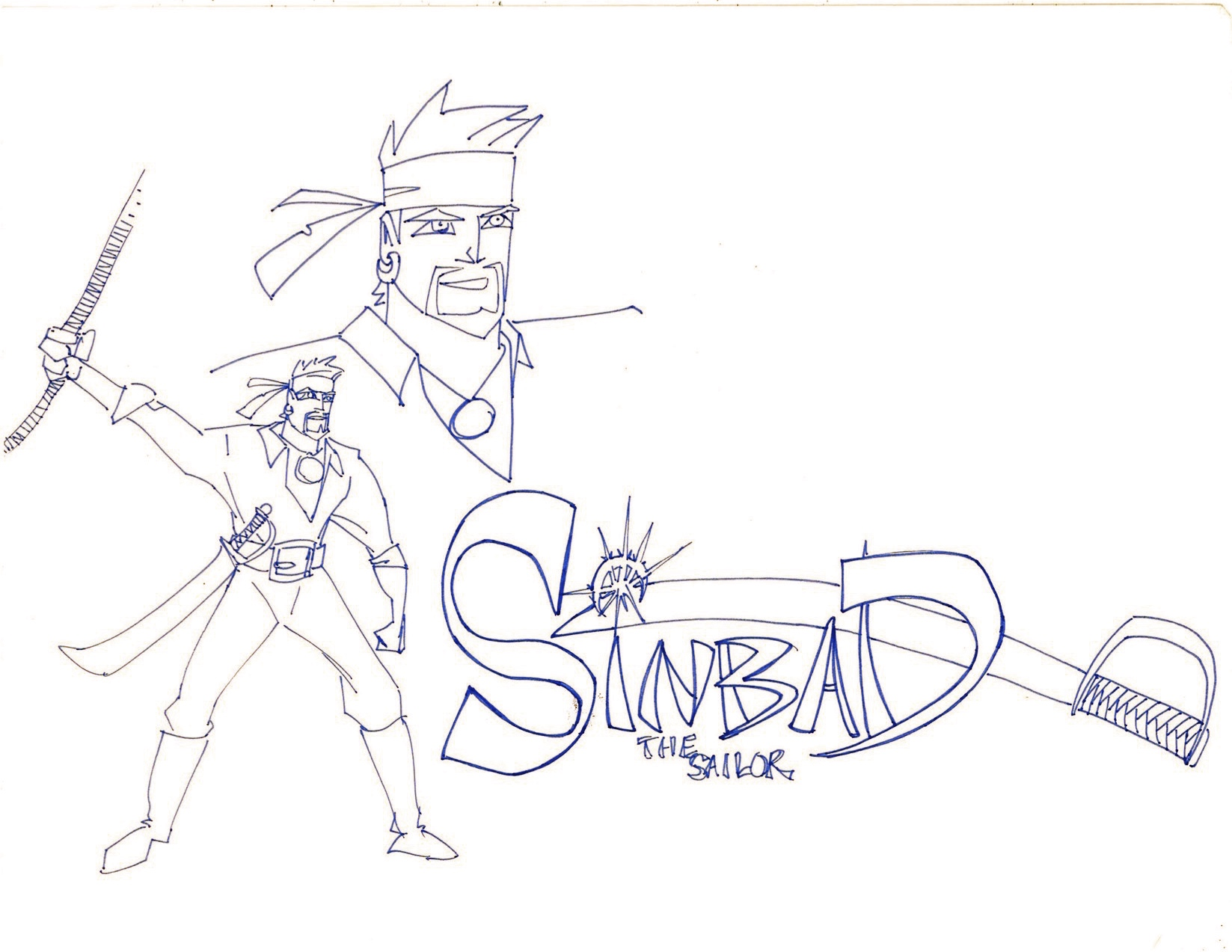 Disney animation inspired Sinbad, circa 1994